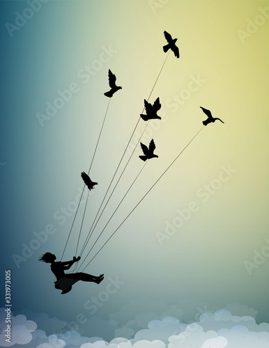girl is flying and holding pigeons, fly in the dream up to the sky, childhood me Poster Mural XXL
