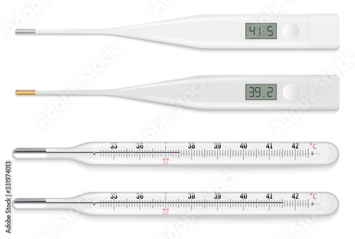 Reliable mercury and modern electronic medical thermometers. Fotobehang