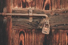 Old Lock On Wooden Door