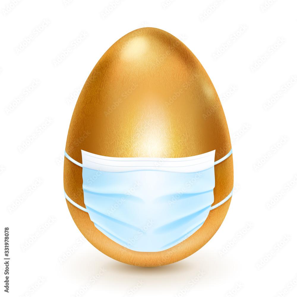 Fototapeta Realistic golden Easter egg with medical disposable mask on white background