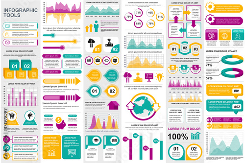 Fototapeta Business infographic elements set. Business processes visualisation, workflow and flowchart. Colorful stock and flow charts, line, circle and bar graphs vector illustration. Business and accounting obraz na płótnie