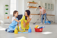 Happy Family Cleans The Room I...
