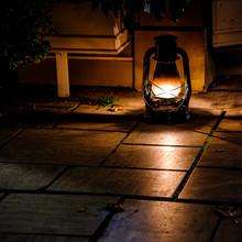 Oil Lamp At Night