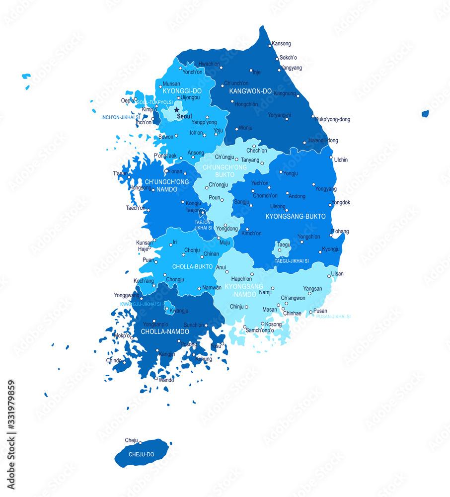 Fototapeta South Korea map. Cities, regions. Vector