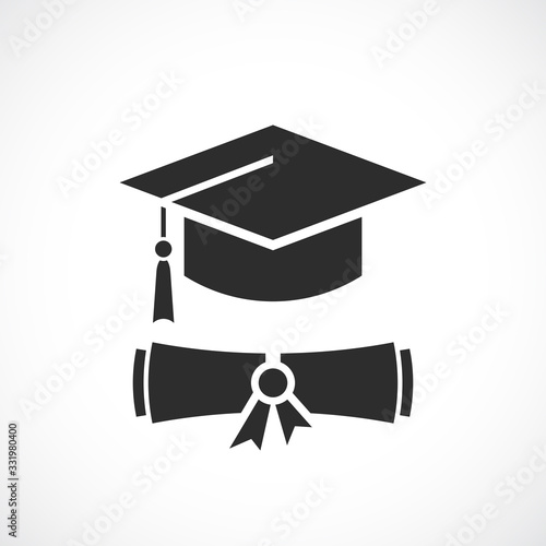 Photo Graduation cap and education diploma vector icon