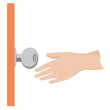 Door Knob And Hand. Flat Desig...
