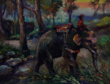 Art Painting Oil Color Elephan...