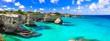 """canvas print picture - Wonderful sea scenery in Puglia. """"Torre di Sant Andrea"""" - famous rock formations near Otranto. Italy"""