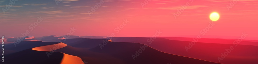 Fototapeta Sand desert at sunset, panorama of desert dunes under the sun, 3D rendering