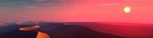 Sand Desert At Sunset, Panorama Of Desert Dunes Under The Sun, 3D Rendering
