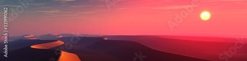 Sand desert at sunset, panorama of desert dunes under the sun, 3D rendering Poster Mural XXL