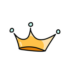 Golden Crown On A White Background In Cute Style. Simple Vector Illustration.