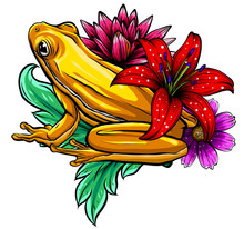 Tropical Frog With Flowers Vec...
