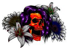 Floral Woman Skull Vector Illustration Design Art