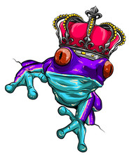 Frog And Crown Represent Frog Prince Vector
