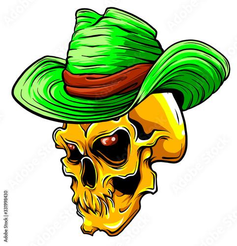 Valokuvatapetti Vector skull pimp vector illustration design art