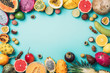 canvas print picture - Tropical fruits concept. Exotic fruits - pineapple, papaya, mango, annona, banana, pitahaya, kiwano, african horned melon, tamarillo fruit, granadilla, salak, snake fruit, maracuya, rambutan, lychee