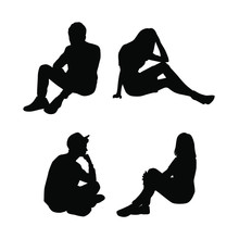 Set Of Vector Silhouettes Of Men And Women , A Group Of Business People Sitting In Various Poses, Black Color, Isolated On A White Background
