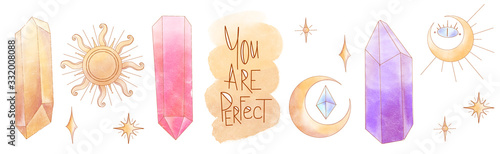 Fototapeta Watercolor mystical occultism set crystal, sun, moon, lettering you are perfect textural digital art
