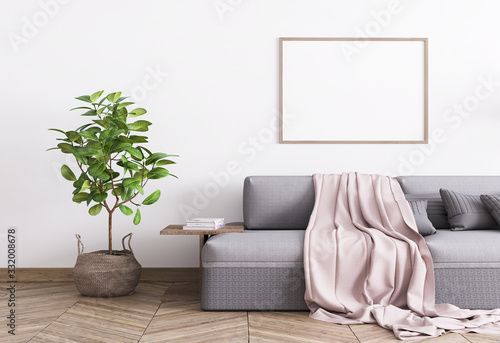 Obraz Grey comfortable couch and a rattan pot in white template interior mock up, Single A3 wood frame poster, stylish home photo, 3D rendering, illustration - fototapety do salonu