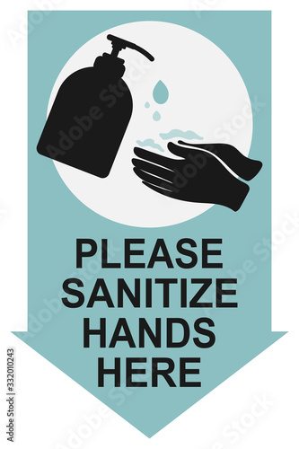 Obraz Please sanitize hands here sign. Alcohol gel hands sanitizer icon for apps, websites, infographics - fototapety do salonu