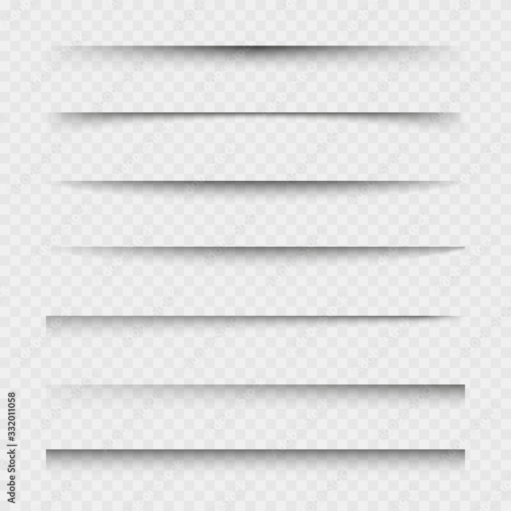 Fototapeta Transparent paper sheet shadow with soft edges. Set of vector elements for design.