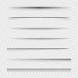 Transparent paper sheet shadow with soft edges. Set of vector elements for design.