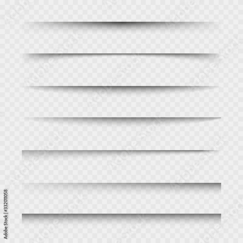 Obraz Transparent paper sheet shadow with soft edges. Set of vector elements for design. - fototapety do salonu