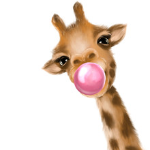 Funny Giraffe Blowing Bubble. ...