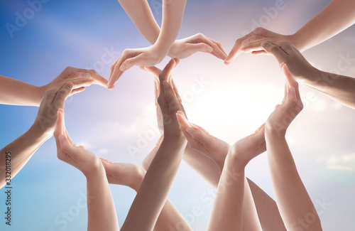 Fototapeta The concept of unity, cooperation, teamwork and charity. obraz na płótnie