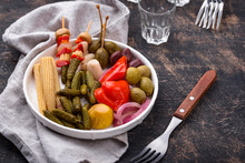 Assortment Of Marinated Or Pickled Vegetable.