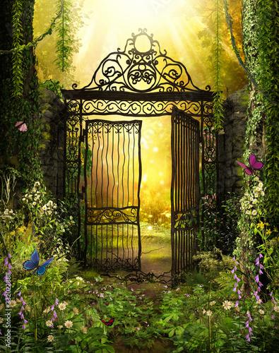 Obraz na płótnie Żelazna brama do sekretnego ogrodu