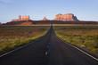 Route 163 to Monument Valley at sunrise in Utah near Arizona border, Navaho Nation