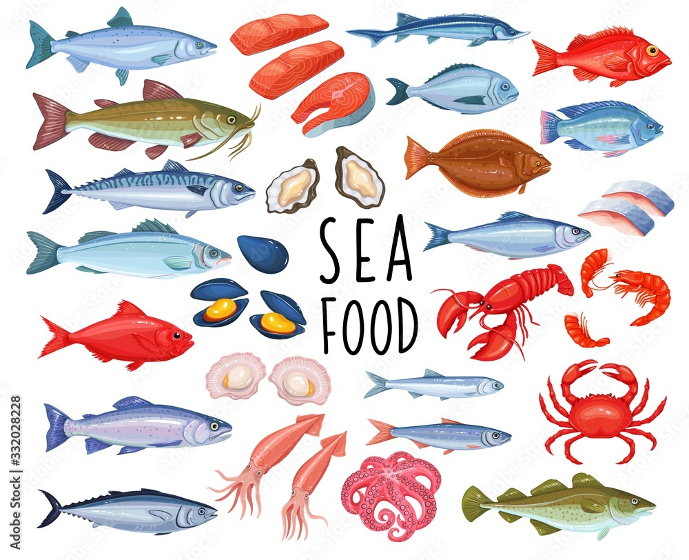 Fototapeta Seafood and fish icons