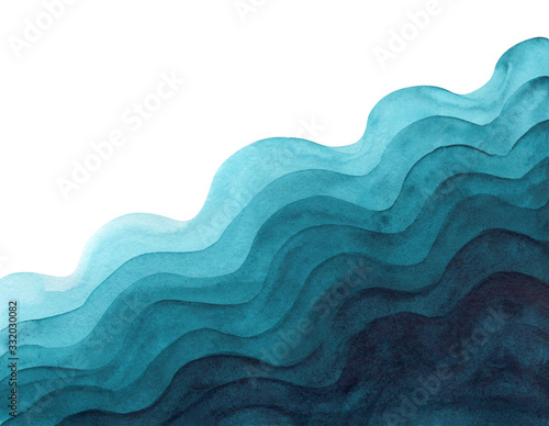 Abstract watercolor light and dark aquamarine wavy paper cut background Canvas Print