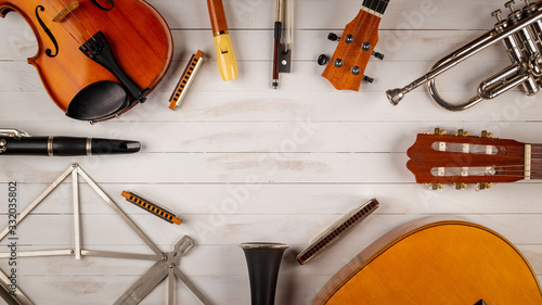 instruments in white wooden background