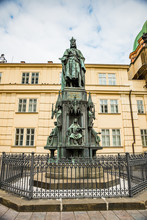 Prague, Czech Republic - March 19, 2020. Statue Of Charles IV - Karel IV - At Krizovnicke Namesti By Charles Bridge