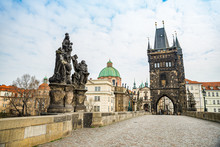 Prague, Czech Republic - March 19, 2020. Charles Bridge Without Tourist During Covid-19 Travel Ban