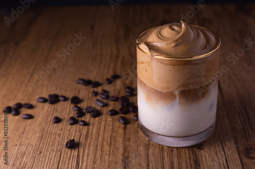 Iced Dalgona Coffee, a trendy fluffy creamy whipped coffee Wallpaper Mural