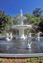 Forsyth Park Fountain In Historic Savannah, Savannah, Georgia