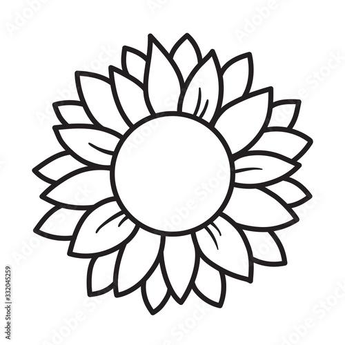 Outlined sunflower round frame vector illustration. Fototapete