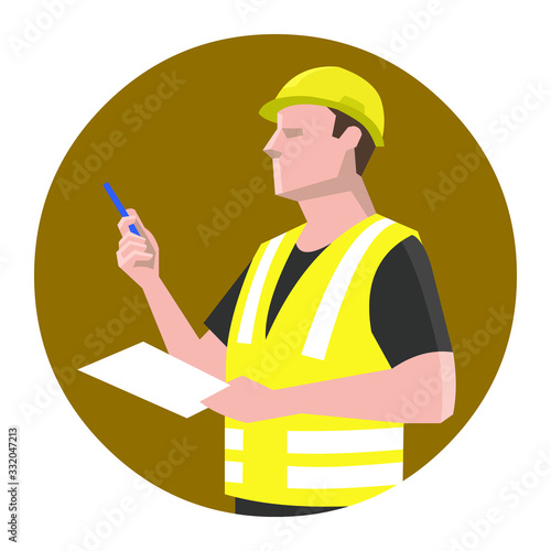 Fotografia Construction supervisor, engineer holding pen and paper