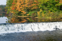 Water Fall And Autumn Color Of Western Massachusetts, New England