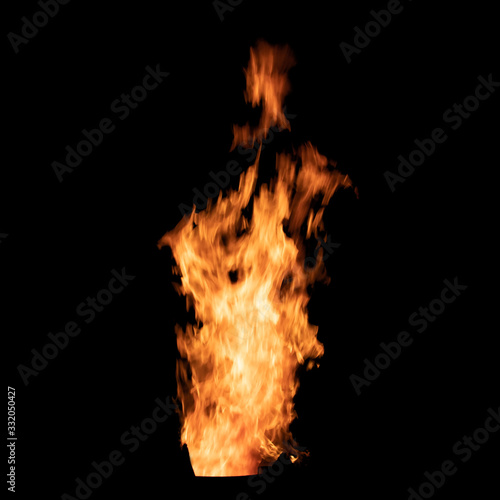 Bright bonfire flame isolated on black background