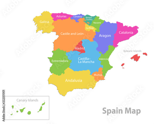 Spain map, administrative division, separate individual regions with names, colo Canvas