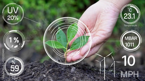 Obraz Smart digital agriculture technology by futuristic sensor data collection management by artificial intelligence to control quality of crop growth and harvest. Computer aided plantation grow concept. - fototapety do salonu