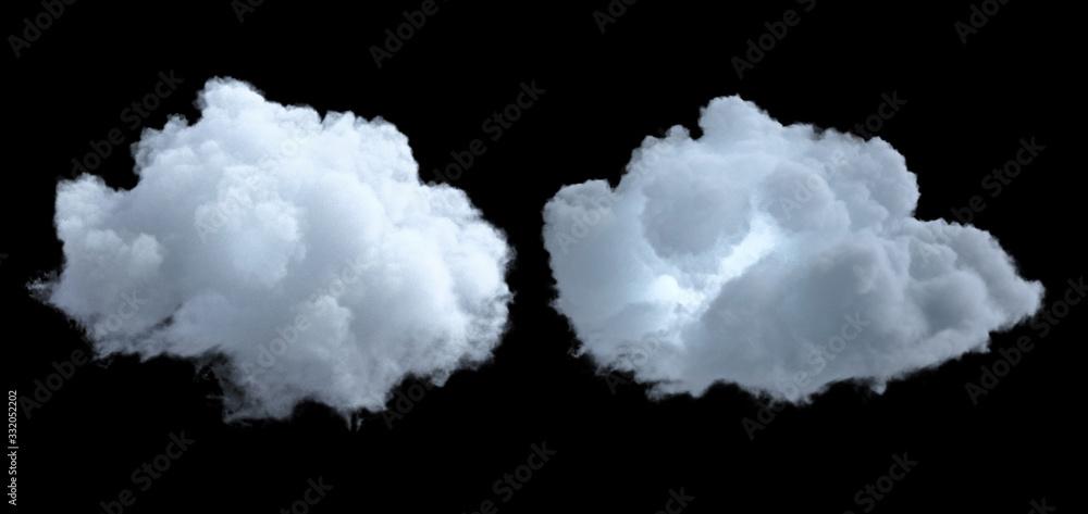 Fototapeta Cloud isolated on black