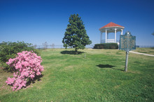 Pink Magnolias In Natchez, MS - Sign And Gazebo In Roadside Park Overlooking MS River