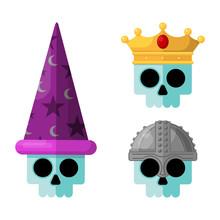 Skulls Wearing Fantasy Medieval Flat Vector Graphic Icon Set