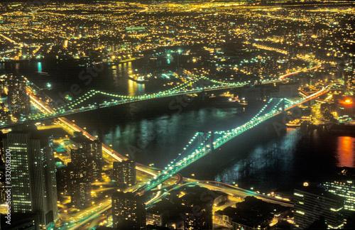 Photo Brooklyn Bridge and New York City at night, NY